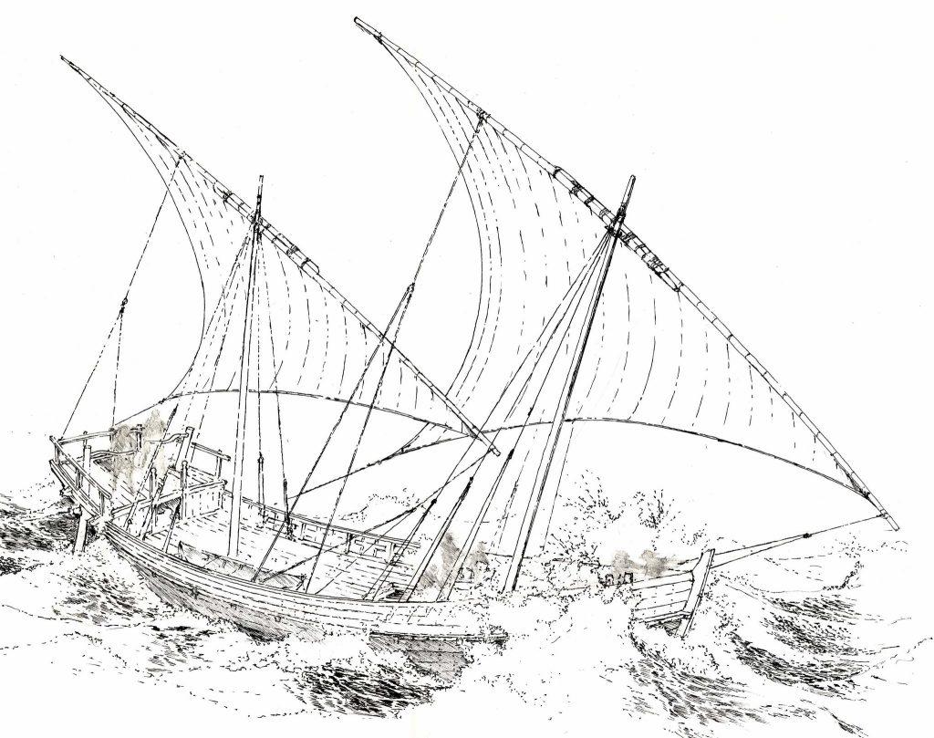 Иллюстрация, отражающая взгляды членов команды на то, как выглядел обнаруженный в Чёрном море корабль в период расцвета.