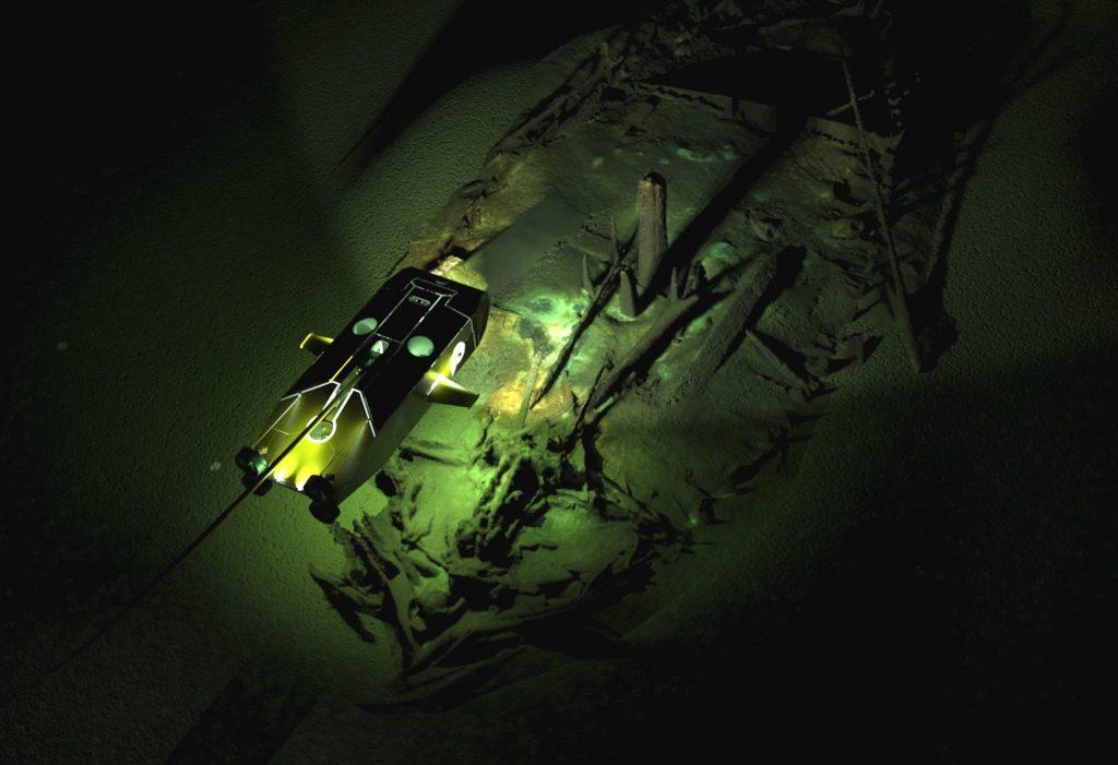 Фотограмметрическое изображение Византийского корабля примерно 9 века. Сверху наложено изображение одного из роботов экспедиции, который фотографирует погибшие суда.